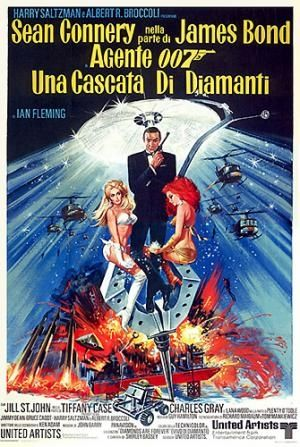 James Bond film 'Diamonds Are Forever' sees agent 007 investigating a smuggling of diamonds in Las Vegas, where he reveals an extortion plot that has been led by his arch nemesis Ernst Stavro Blofeld. The advertising poster was used in the films multiple channel marketing campaign. On release, 'Diamonds Are Forever' broke Hollywood's three day gross record. http://www.vintageposters.us/vintage-poster/New-Acquisitions/1949/Una-cascata-di-diamanti-