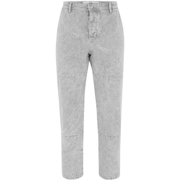 TOPMAN Grey And White Stripe Original Work Trousers ($48) ❤ liked on Polyvore featuring men's fashion, men's clothing, men's pants, men's casual pants, black, mens cotton pants, mens white cotton pants, mens white pants, mens gray pants and mens grey dress pants