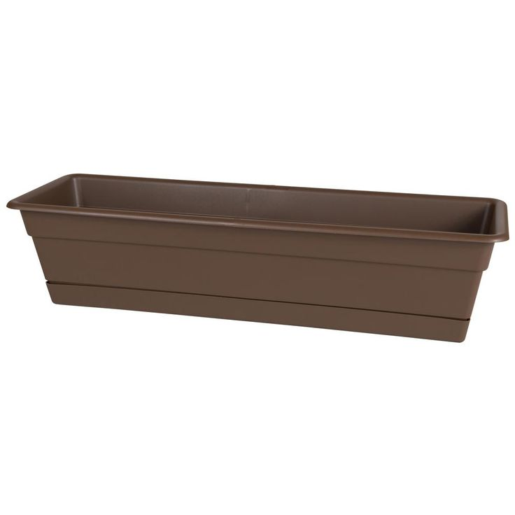 Dura Cotta 30 in. Chocolate (Brown) Plastic Window Box Planter