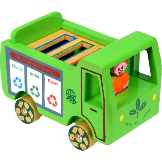 "Help little ones learn to recycle with this wooden truck toy. Makers from Sri Lanka carve and paint the wood to create the truck and the ""paper,"" ""metal"" and ""plastic"" blocks to be sorted by the driver. Many of the toy's makers have been able to move to brick homes with galvanized steel roofs and leave their flimsy homes with thatched roofs behind. This truck delivers hope."