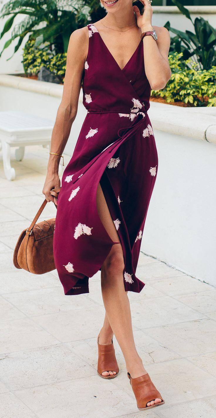 Magenta floral wrap dress