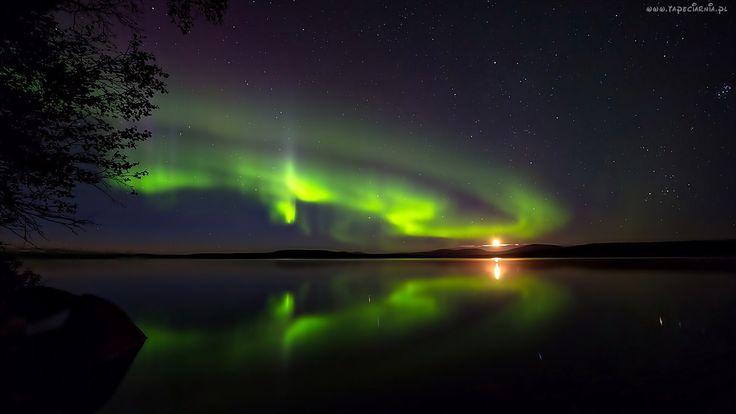 Zorza Polarna, Niebo, Gwiazdy, Jezioro, Noc