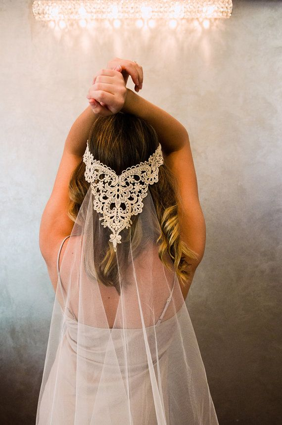 Metallic Embroidered Lace Bohemian Bridal Wedding Veil, Tulle with Embroidered lace appliqué, Style: Ophelia