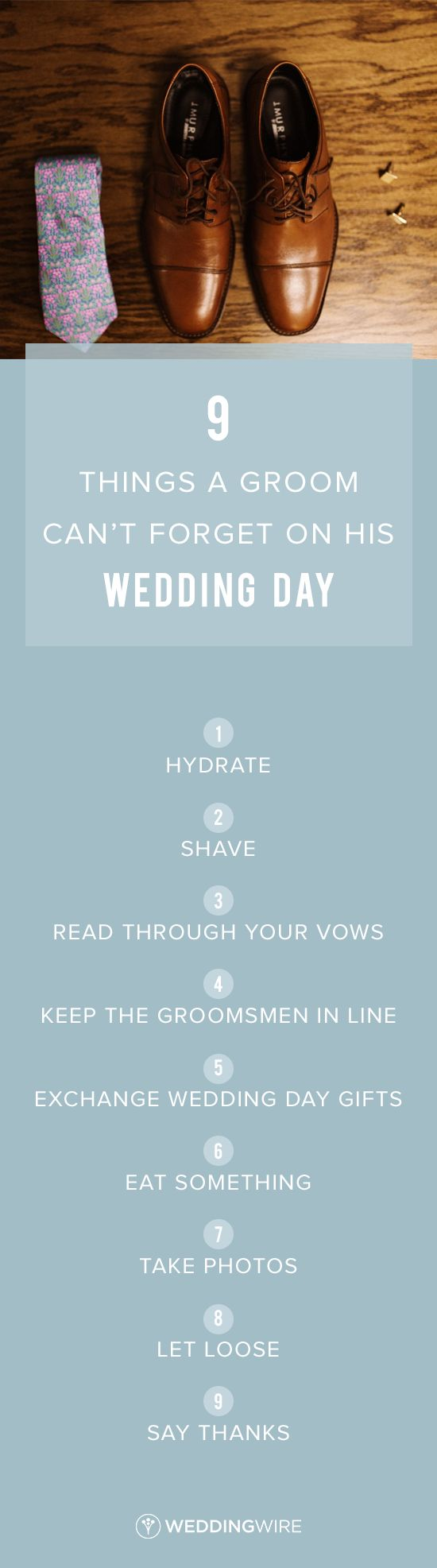 9 Things a Groom Can't Forget on His Wedding Day - Grooms, you'll have a lot to worry about on your wedding day. See the 9 things you shouldn't forget to do on @weddingwire! {Heather Jowett}