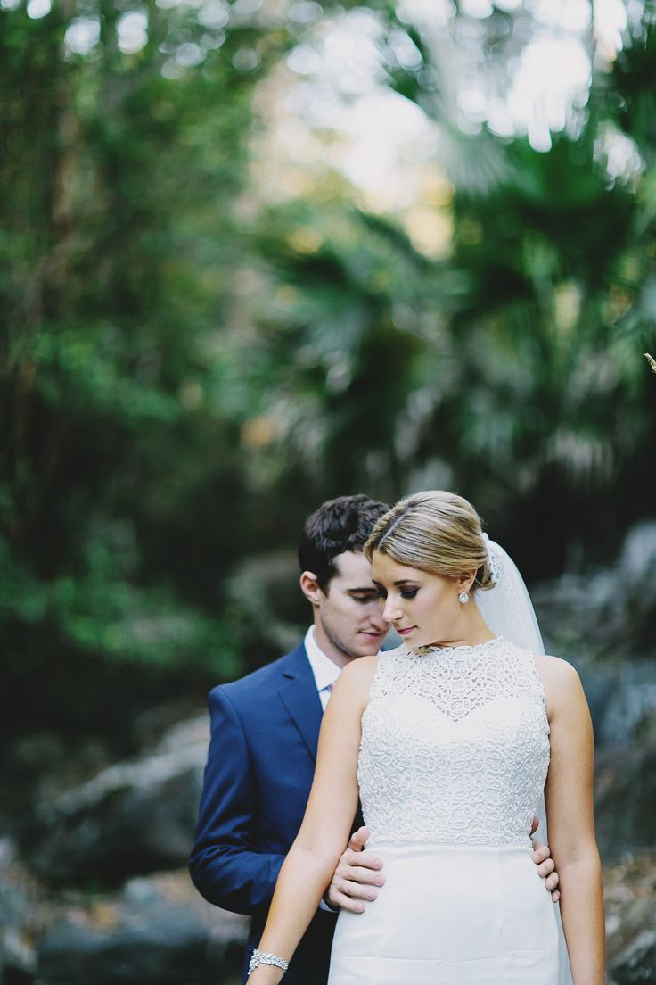 Wedding. Forest. Waterfall. Ivory. Navy. Bride and Groom. Photography by Juddric Photography. www.summerdean.com.au