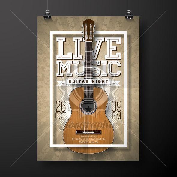 Live music flyer design with acoustic guitar on grunge background . Vector illustration. - Royalty Free Vector Illustration