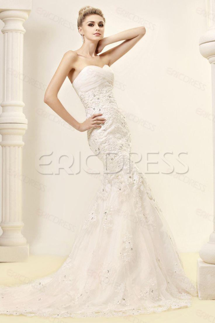 Cheap Trumpet/Mermaid Strapless Sweetheart Lace Wedding Dress 3