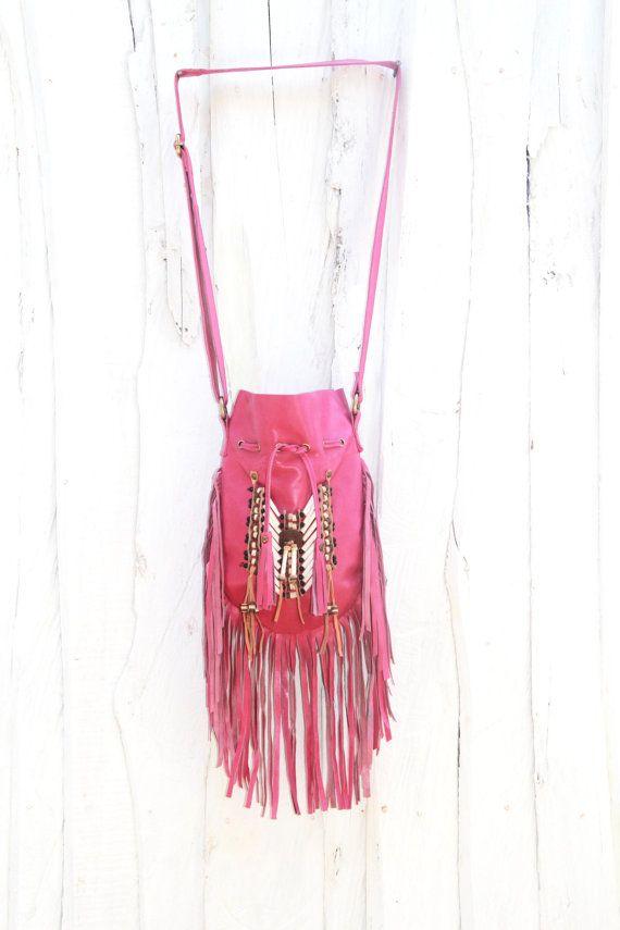 boho leather bag fringe bag gypsy bag pink leather by etnikabali
