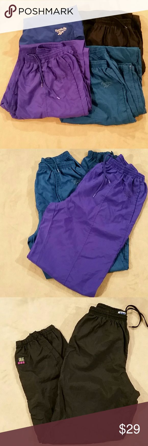4 pair of athletic bottoms Two pair Reebok jogging pants One pair in Sport jogging pants One pair Reebok jogging shorts The Reebok jogging pants don't have size tags but all of these are larges All lightweight All four included in the price Reebok Pants