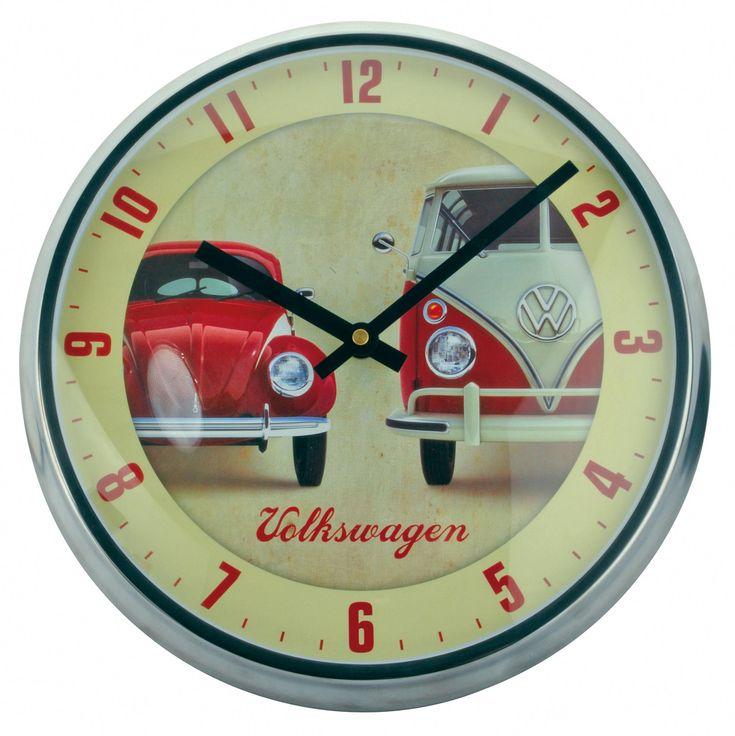 Campervan Gift - Official VW Vintage Campervan Beetle Wall Clock, £24.95 (http://www.campervangift.co.uk/official-vw-vintage-campervan-beetle-wall-clock/)