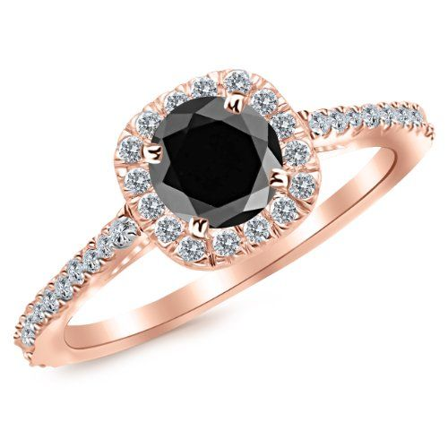 1.85 Carat 14K Rose Gold Gorgeous Classic Cushion Halo Style Diamond Engagement Ring 14K Rose Gold with a 1.5 Carat Round Cut AAA Quality Black Diamond (Heirloom Quality)by Houston Diamond District