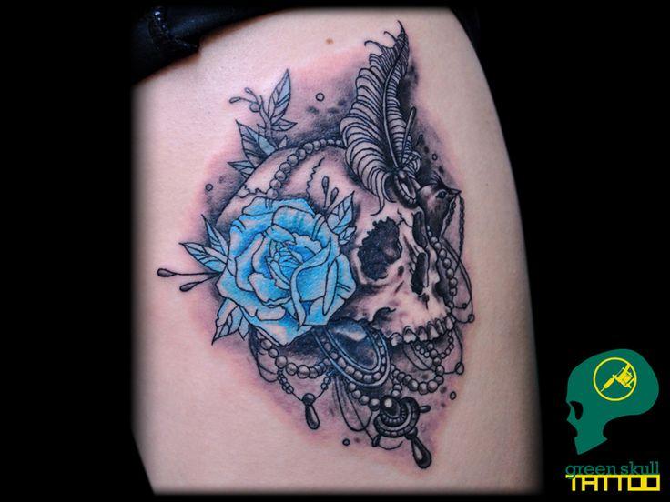 Színes tetoválások - Green Skull Tattoo Budapest