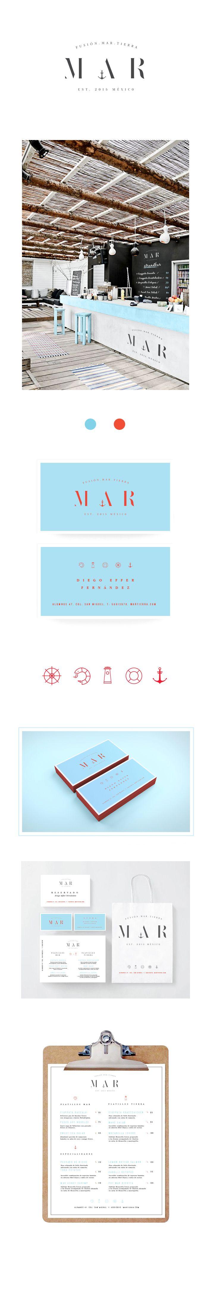Se realizó una propuesta alternativa de Branding para el Proyecto de un Restaurante de Mariscos; la diversidad de platillos se expone por medio de los iconos, la sencillez y abstracción de cada uno logran empatía con el concepto bajo la premisa de ser un