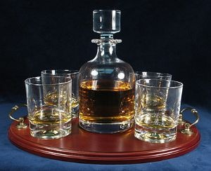 H5a Square Cut Whisky Decanter Set With Tray Decanter