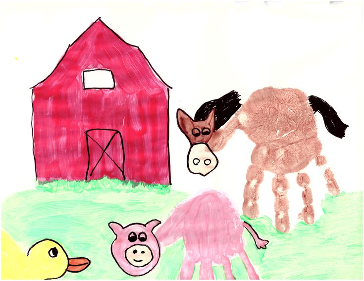 farm horse and pig handprint