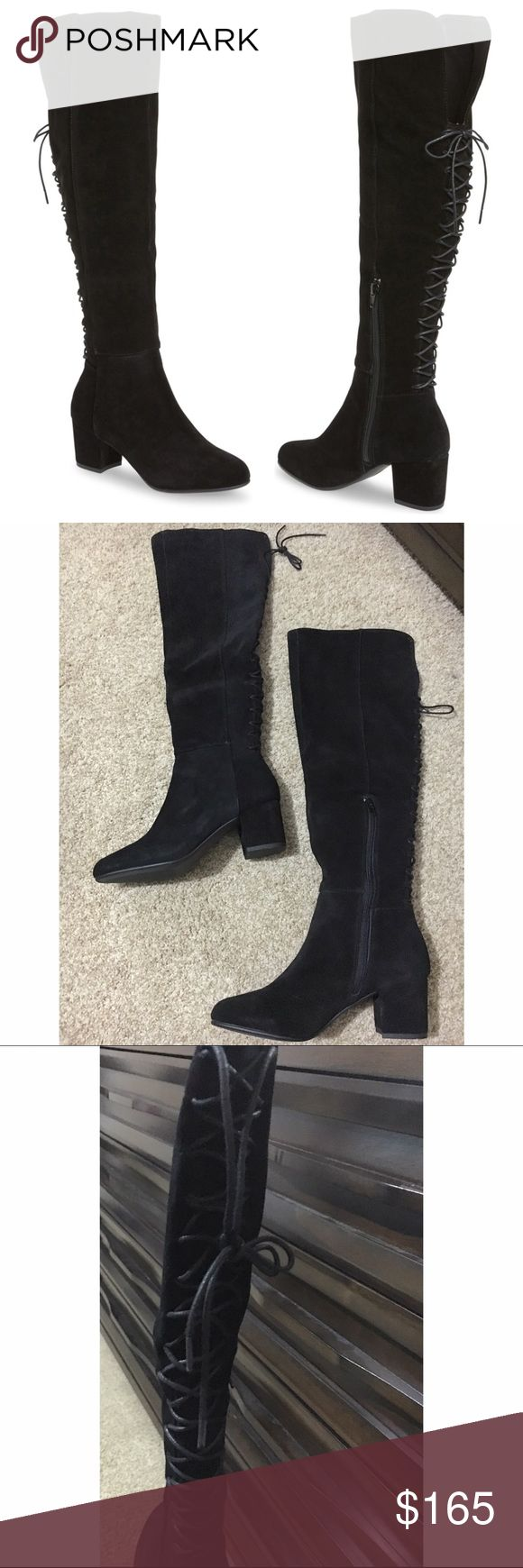 Steve Madden Hansil Suede Knee High Boots Back lacing lends romance to HANSIL's dramatic over-the-knee silhouette, while suede uppers take the boot in a timelessly autumnal direction.  A modest block heel flatters w/o forgoing comfort.   ✨Twill lining ✨2.25 inch heel height, 15 inch shaft circumference, & 19 inch shaft height ✨Functional inside zipper ✨Corset lacing along back of shaft Purchased these but sadly my calves are too big 😩.  Brand new & never worn. 🔺Made to fit narrow calves…