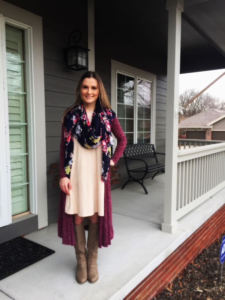 LuLaRoe Sarah cardigan & Carly dress paired with boots and a scarf for Fall/winter