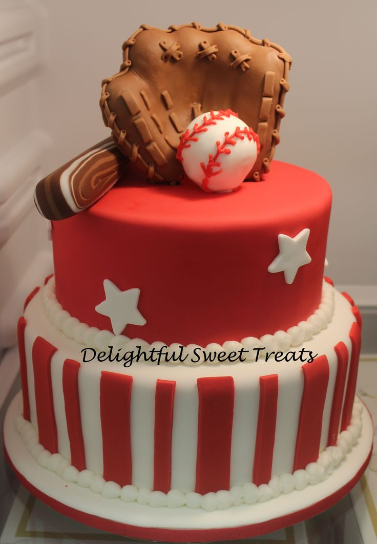 Baseball Themed Cake - A baseball Themed Cake. Glove/ball was made from rice crispy treats.