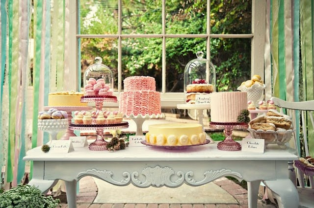 Yea, another dessert bar. (Using vintage cake stands!)