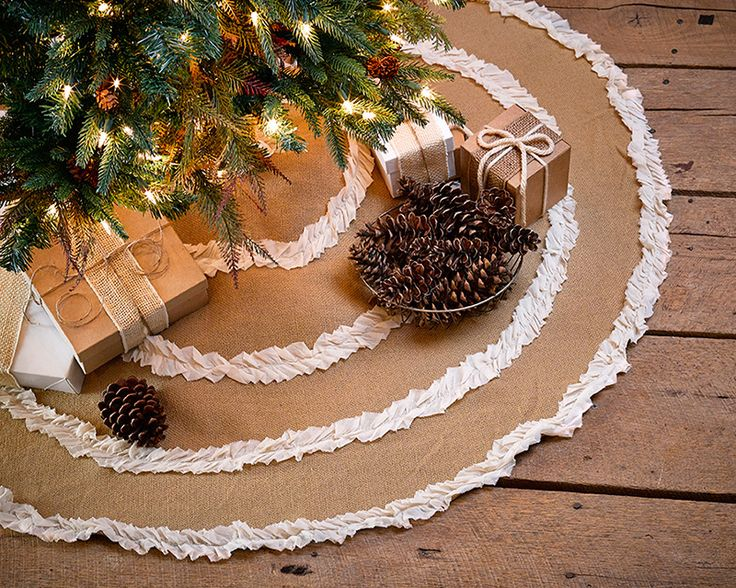 Natural Burlap Creme Voile Ruffled Christmas Tree Skirt 48