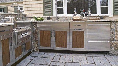 Beautiful Outdoor Kitchen Stainless Steel Cabinet Doors