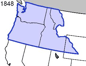 The Oregon Territory, established by the Oregon Treaty