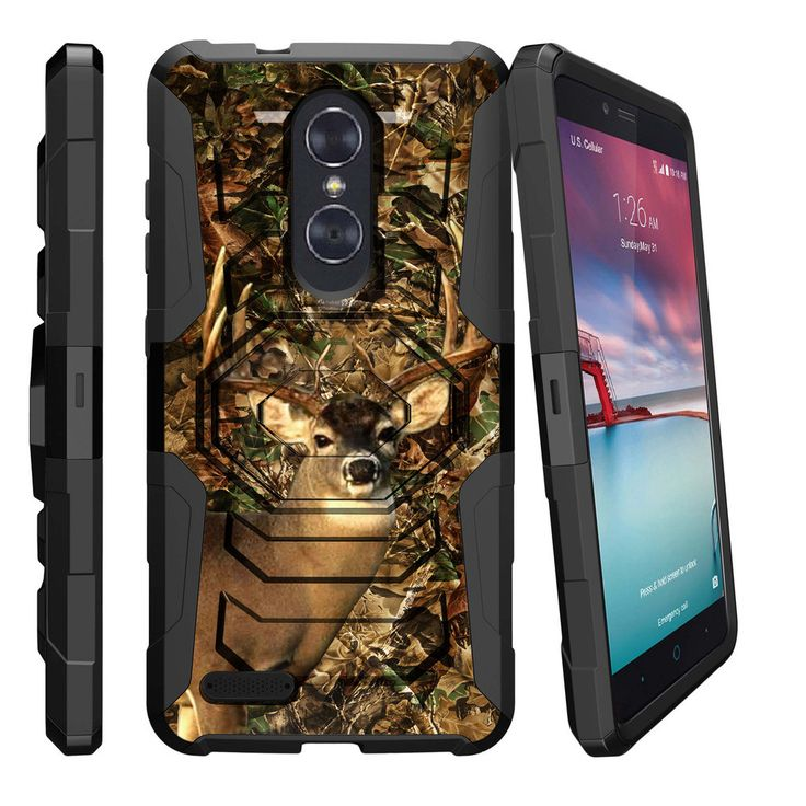 ZTE ZMax Pro Case ARMOR RELOADED, Holster Combo, Impact Resistant Stand - Deer Hunting Camo