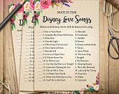 Disney Love Songs Bridal Shower Game - Printable Boho Bohemian Bridal Shower Disney Love Song Game - Bachelorette Party Games 003