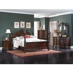 5 pc deryn park collection cherry finish wood carved accents 4 poster bedroom set - Sears