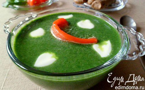 Крем-суп из шпината со слабосоленой семгой  | Кулинарные рецепты от «Едим дома!»