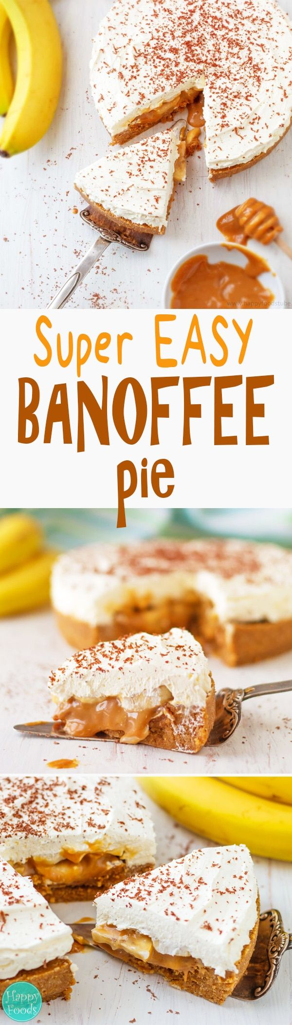 No bake Banana Banoffee Pie is also flourless and eggless dessert recipe. Made from simple ingredients bananas, cream & toffee. Homemade no bake cake, ready in 30 minutes via @happyfoodstube