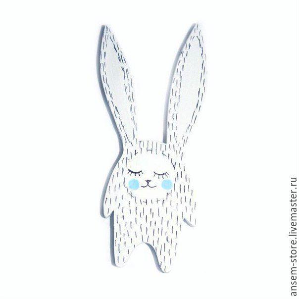Купить Брошь заяц Норд. Брошь значок ручной работы - белый, значок, значок из дерева