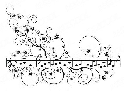 Pattern vector material with sheet music