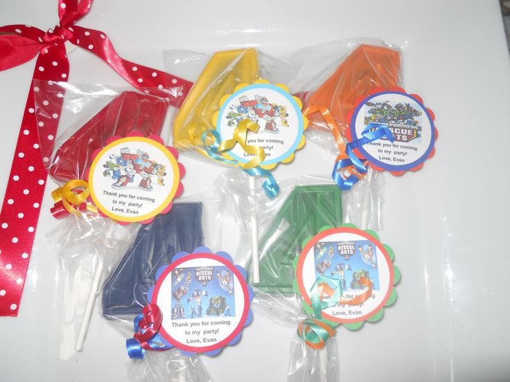 12 Transformers Rescue Bots 4th Birthday Party Favor Gourmet Chocolate Party Favors with custom tags by Hannahscustomfavors on Etsy