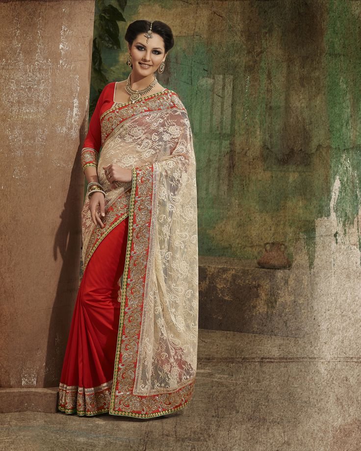 #Red & cream #Net Saree only on #fabdeal