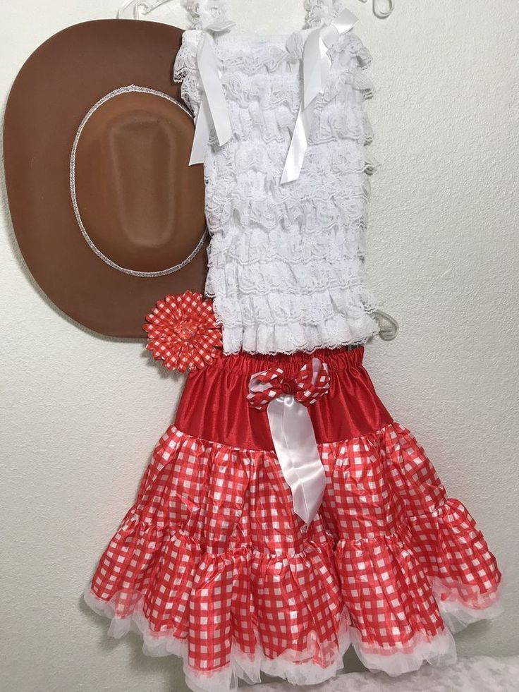 Red Gingham Cow Girl And Hat Costume Halloween Fits Girls 2T-3T #PjsDreams #Dress
