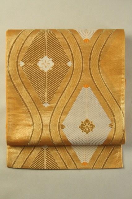 Gold Fukuro Obi (Rokutsu), 金地 松菱立涌文様 六通袋帯