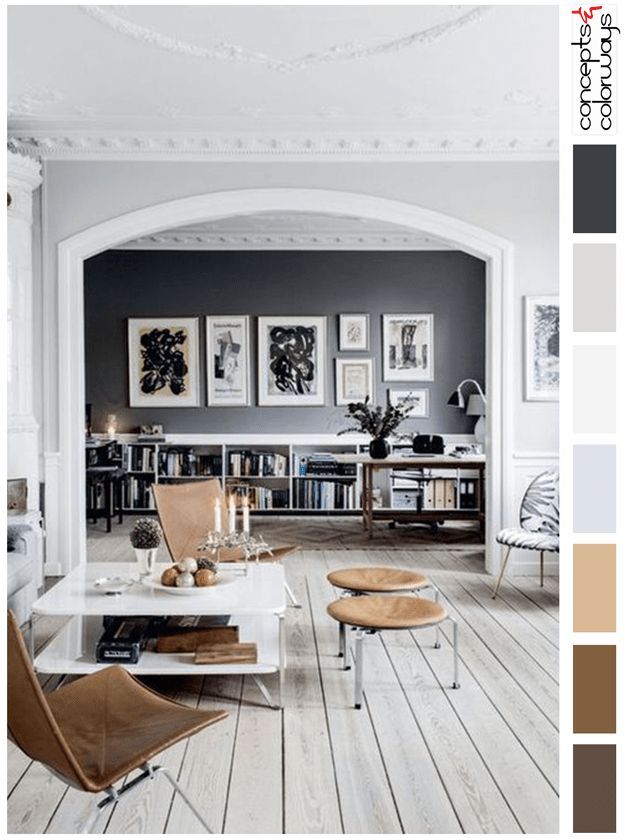 gray and brown interior color palette, color for interiors, chocolate brown accents, benjamin moore french press, camel brown, caramel brown, light gray, cool gray, purplish-gray, blue-gray, warm gray, black accents, black and white print, dark navy, whitewashed wood, driftwood flooring