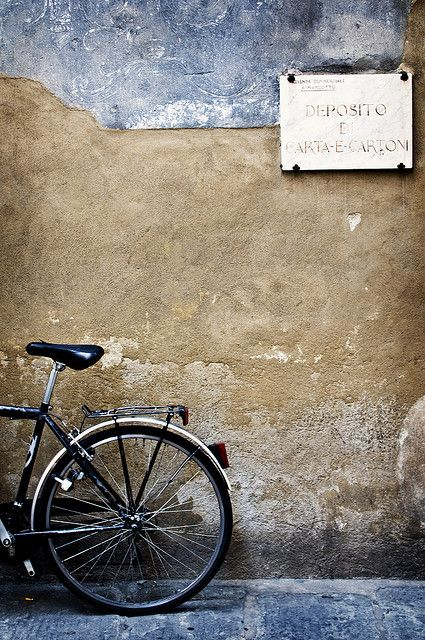 "Florence~""She decided to sit on the curb and wait and see if the owner of the bike just might be her future husband. She had read 'Il postino' and knew such things were possible. After all, she was a romantic through and through."""