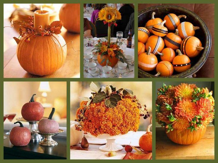 Centrotavola per un matrimonio in autunno - Centrotavola con zucche