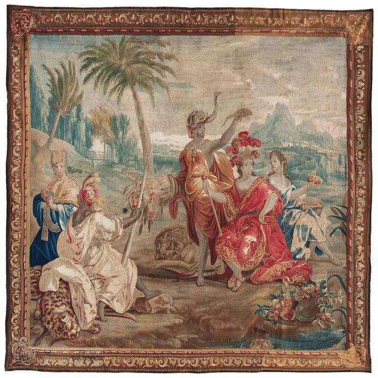 Late 17th Century Flemish Allegorical Tapestry from the Four Continents 'Africa' | From a unique collection of antique and modern tapestries at https://www.1stdibs.com/furniture/wall-decorations/tapestry/