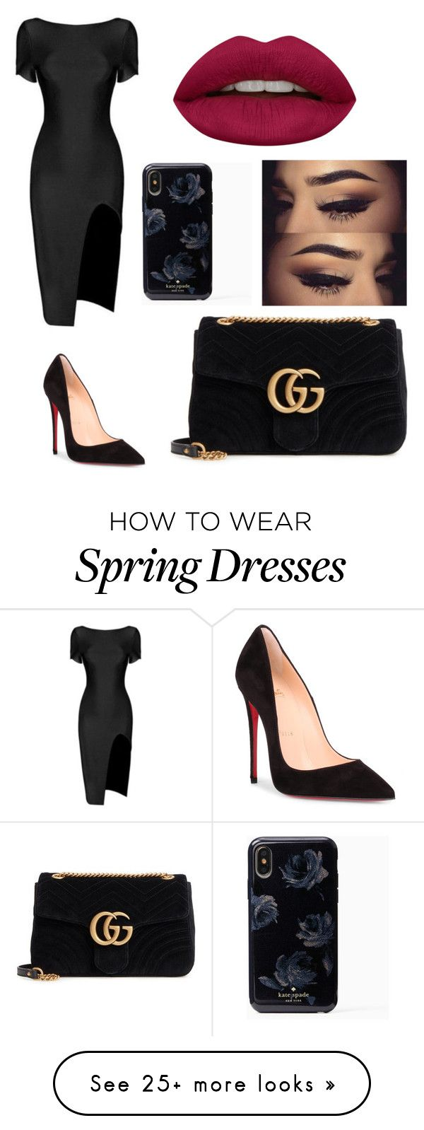 """""""Untitled #1124"""" by katia017 on Polyvore featuring Christian Louboutin, Gucci and Huda Beauty"""