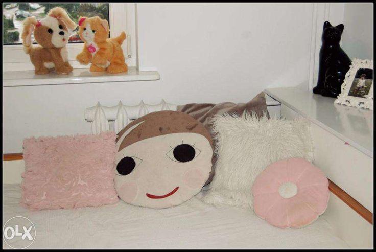 zestaw poduszek dekoracyjnych do pokoju dziewczynki, różowa i beżowo-szara H&M Home, futrzak Home&You, okrągłe szyte na zamówienie, na wzór poduszki Sebra (koszt oryginalnej 340zł), cena za komplet 100zł