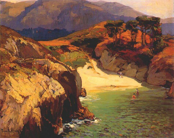 """Franz Bischoff  (Austrian-born American Painter, 1864-1929)  """"Emerald Cove, Carmel"""""""