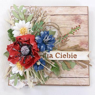 Pampuchowo: Rustykalna kartka z polnymi kwiatami