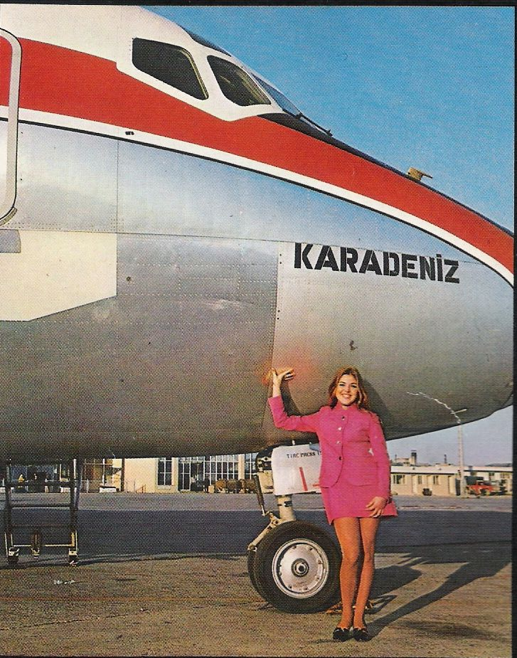 "Turkish Airlines (THY - Türk Hava Yolları) McDonnell Douglas DC-9-32 TC-JAK ""Karadeniz"" and a friendly flight attendant, circa 1980s."