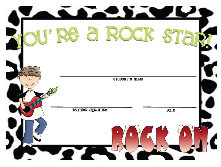 101 best certificates and awards images on pinterest school creating teaching rock star certificates cute for kids transitioning to next class within yadclub Choice Image
