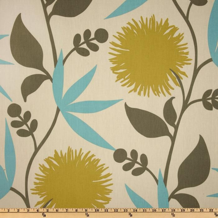 Thomas Paul Dahlia Aegean from @fabricdotcom  Designed by Thomas Paul for Duralee this fabric is screen printed on a cotton this medium weight fabric is very versatile. This fabric is perfect for window treatments (draperies, valances, curtains, and swags), bed skirts, duvet covers, pillow shams, accent pillows, tote bags, aprons, slipcovers and upholstery. Colors include greyish taupe, citrine and teal on a natural tan background.