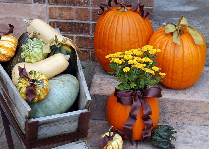 A  cute fall arrangement. Instructions on how to make a pumpkin planter.