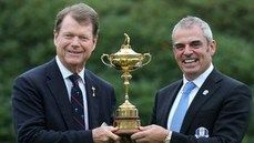 European Ryder Cup Captain Paul McGinley (right) and America Ryder Cup Captain Tom Watson with the Ryder Cup trophy.